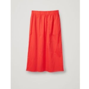 COS Lightweight Cotton Midi Skirt Vibrant Orange